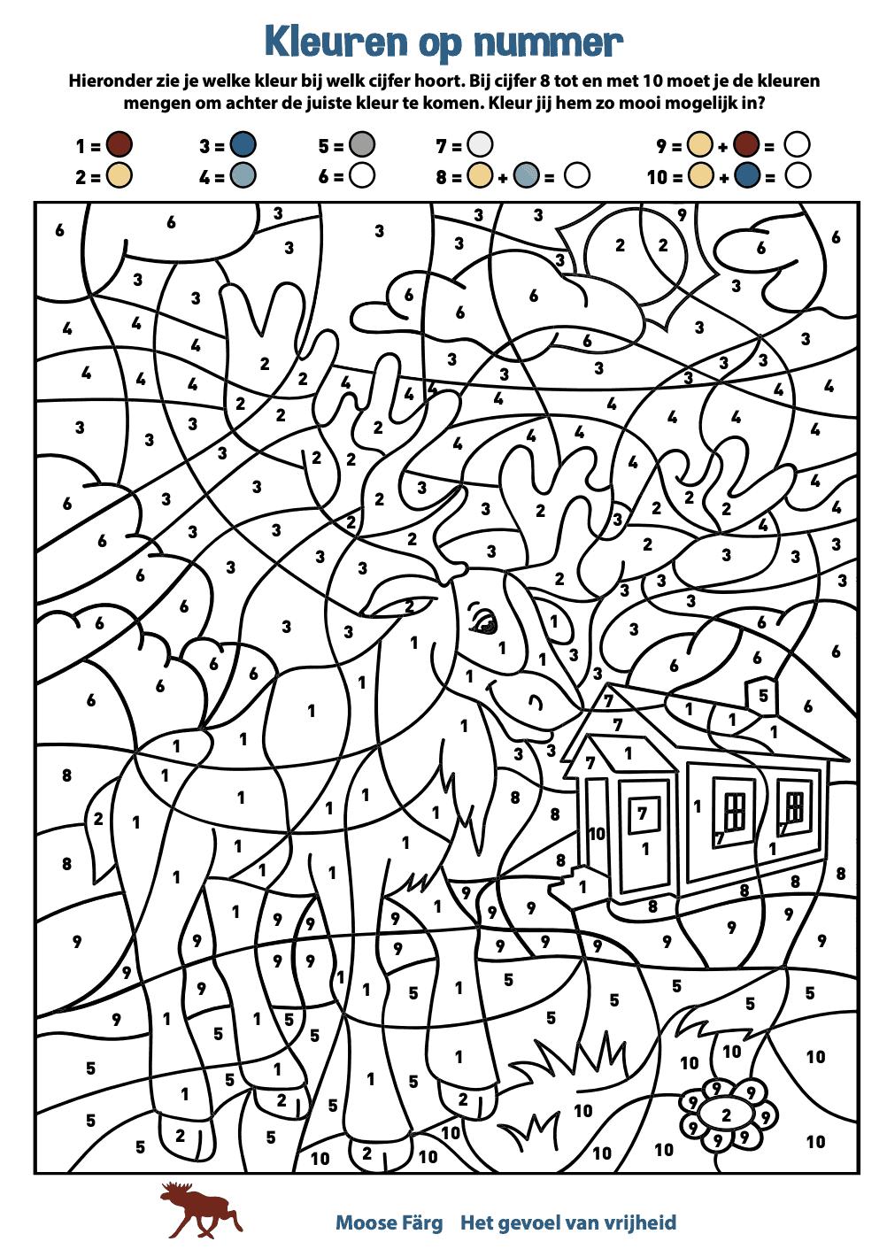 Kleurplaat Moose Farg mengen en cijfers