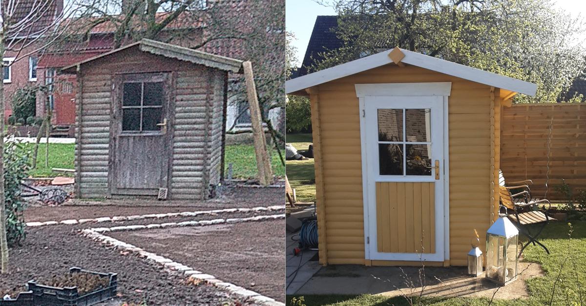 Transformatie geel tuinhuisje